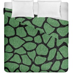 Skin1 Black Marble & Green Denim (r) Duvet Cover Double Side (king Size)