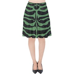 Skin2 Black Marble & Green Denim (r) Velvet High Waist Skirt by trendistuff