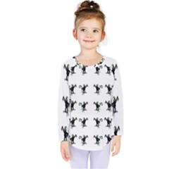 Floral Monkey With Hairstyle Kids  Long Sleeve Tee