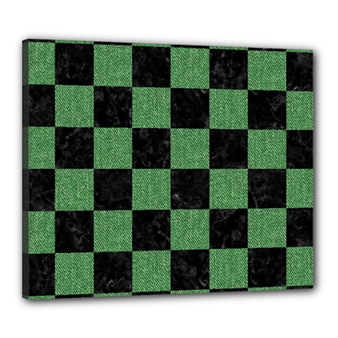 Square1 Black Marble & Green Denim Canvas 24  X 20  by trendistuff