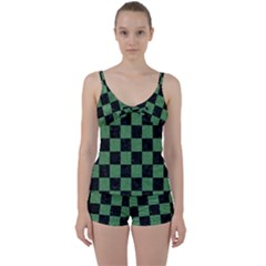 Square1 Black Marble & Green Denim Tie Front Two Piece Tankini