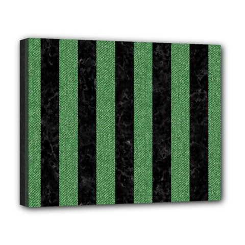Stripes1 Black Marble & Green Denim Deluxe Canvas 20  X 16   by trendistuff
