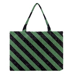 Stripes3 Black Marble & Green Denim Medium Tote Bag by trendistuff
