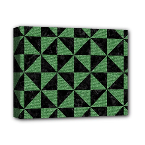 Triangle1 Black Marble & Green Denim Deluxe Canvas 14  X 11  by trendistuff