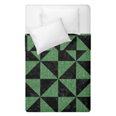 Triangle1 Black Marble & Green Denim Duvet Cover Double Side (single Size) by trendistuff