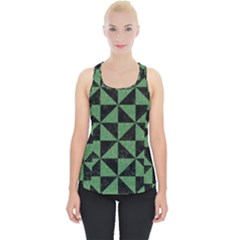 Triangle1 Black Marble & Green Denim Piece Up Tank Top