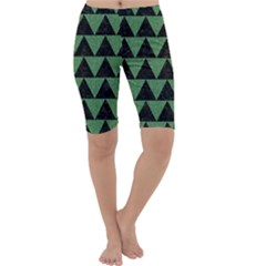 Triangle2 Black Marble & Green Denim Cropped Leggings