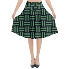 Woven1 Black Marble & Green Denim (r) Flared Midi Skirt