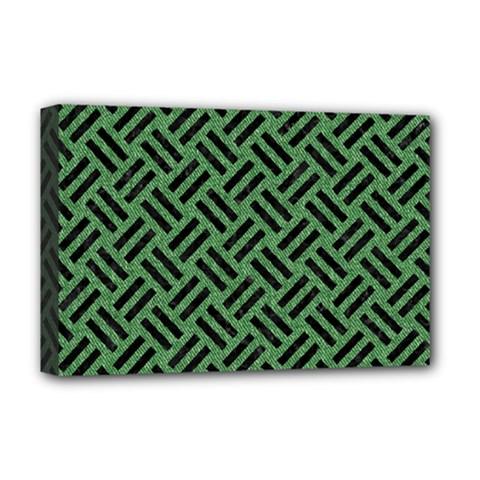 Woven2 Black Marble & Green Denim Deluxe Canvas 18  X 12   by trendistuff