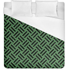 Woven2 Black Marble & Green Denim Duvet Cover (king Size) by trendistuff