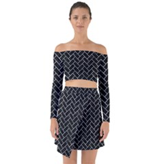 Brick2 Black Marble & Ice Crystals (r) Off Shoulder Top With Skirt Set