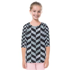 Chevron1 Black Marble & Ice Crystals Kids  Quarter Sleeve Raglan Tee by trendistuff