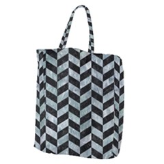 Chevron1 Black Marble & Ice Crystals Giant Grocery Zipper Tote