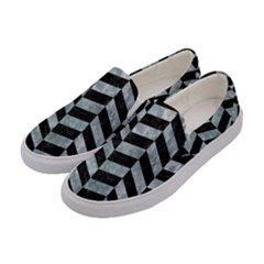 Chevron1 Black Marble & Ice Crystals Women s Canvas Slip Ons by trendistuff
