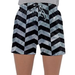 Chevron2 Black Marble & Ice Crystals Sleepwear Shorts by trendistuff