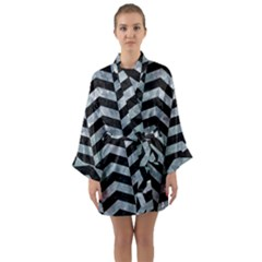 Chevron2 Black Marble & Ice Crystals Long Sleeve Kimono Robe by trendistuff