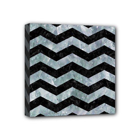 Chevron3 Black Marble & Ice Crystals Mini Canvas 4  X 4  by trendistuff