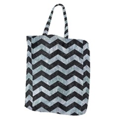 Chevron3 Black Marble & Ice Crystals Giant Grocery Zipper Tote