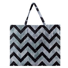 Chevron9 Black Marble & Ice Crystals Zipper Large Tote Bag by trendistuff