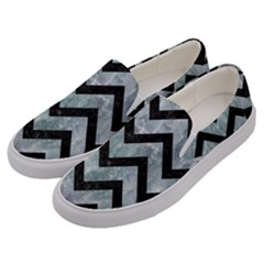 Chevron9 Black Marble & Ice Crystals Men s Canvas Slip Ons by trendistuff