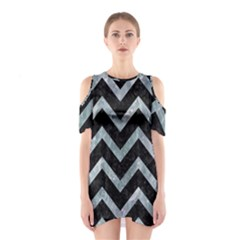 Chevron9 Black Marble & Ice Crystals (r) Shoulder Cutout One Piece by trendistuff