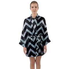 Chevron9 Black Marble & Ice Crystals (r) Long Sleeve Kimono Robe