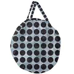 Circles1 Black Marble & Ice Crystals Giant Round Zipper Tote