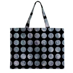 Circles1 Black Marble & Ice Crystals (r) Zipper Mini Tote Bag by trendistuff