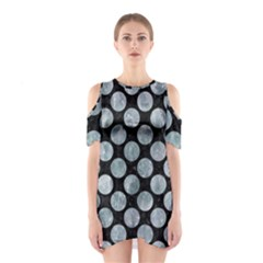 Circles2 Black Marble & Ice Crystals (r) Shoulder Cutout One Piece