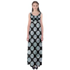 Circles2 Black Marble & Ice Crystals (r) Empire Waist Maxi Dress
