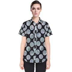 Circles2 Black Marble & Ice Crystals (r) Women s Short Sleeve Shirt