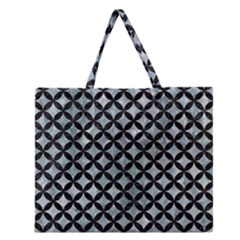 Circles3 Black Marble & Ice Crystals Zipper Large Tote Bag by trendistuff
