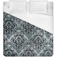 Damask1 Black Marble & Ice Crystals Duvet Cover (king Size) by trendistuff