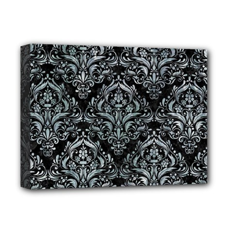 Damask1 Black Marble & Ice Crystals (r) Deluxe Canvas 16  X 12   by trendistuff