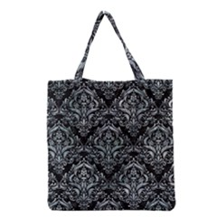 Damask1 Black Marble & Ice Crystals (r) Grocery Tote Bag by trendistuff