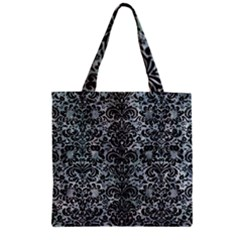 Damask2 Black Marble & Ice Crystals Zipper Grocery Tote Bag by trendistuff