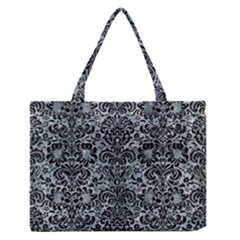 Damask2 Black Marble & Ice Crystals Zipper Medium Tote Bag by trendistuff