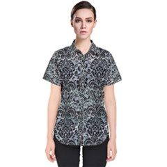 Damask2 Black Marble & Ice Crystals Women s Short Sleeve Shirt