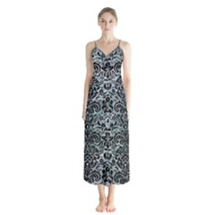 Damask2 Black Marble & Ice Crystals Button Up Chiffon Maxi Dress by trendistuff
