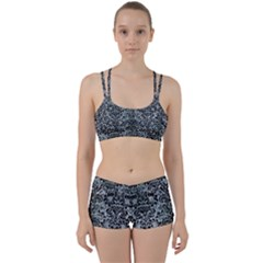 Damask2 Black Marble & Ice Crystals Women s Sports Set