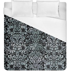 Damask2 Black Marble & Ice Crystals (r) Duvet Cover (king Size) by trendistuff
