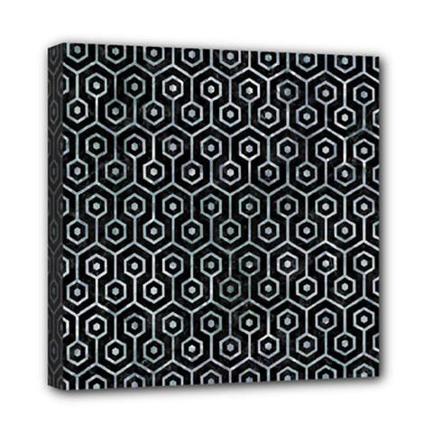 Hexagon1 Black Marble & Ice Crystals (r) Mini Canvas 8  X 8  by trendistuff