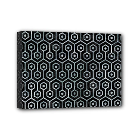 Hexagon1 Black Marble & Ice Crystals (r) Mini Canvas 7  X 5  by trendistuff