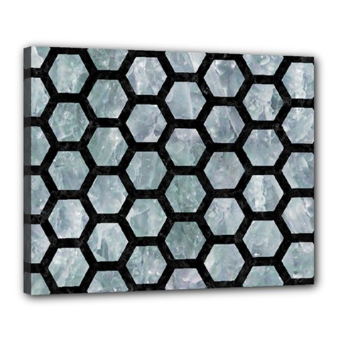 Hexagon2 Black Marble & Ice Crystals Canvas 20  X 16  by trendistuff