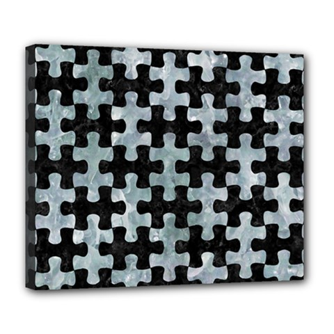 Puzzle1 Black Marble & Ice Crystals Deluxe Canvas 24  X 20   by trendistuff