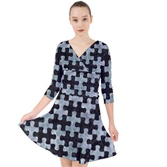 Puzzle1 Black Marble & Ice Crystals Quarter Sleeve Front Wrap Dress