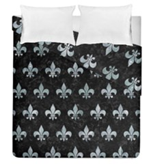 Royal1 Black Marble & Ice Crystals Duvet Cover Double Side (queen Size)