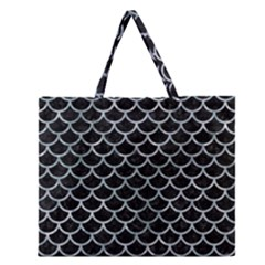 Scales1 Black Marble & Ice Crystals (r) Zipper Large Tote Bag by trendistuff