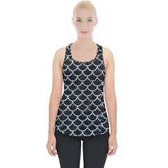 Scales1 Black Marble & Ice Crystals (r) Piece Up Tank Top