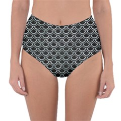 Scales2 Black Marble & Ice Crystals (r) Reversible High Waist Bikini Bottoms